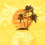 Island with palm trees. On a sunset Royalty Free Stock Images