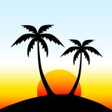 Island with palm trees Stock Images