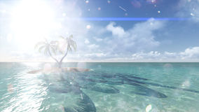 Island with palm trees on the background of the ocean. 2 Stock Images