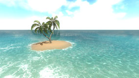 Island with palm trees on the background of the ocean. 3 Royalty Free Stock Image