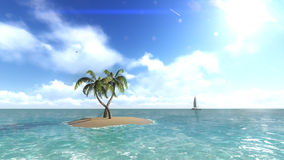 Island with palm trees on the background of the ocean. 4 Stock Photography