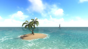 Island with palm trees on the background of the ocean. 1 Stock Photography