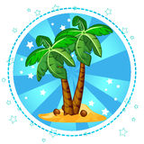 Island and palm trees with coconuts Royalty Free Stock Image