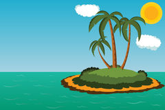 Island with palm trees Royalty Free Stock Photo