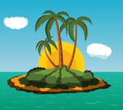 Island with palm trees. Desert island with palm trees at sunrise Royalty Free Stock Images