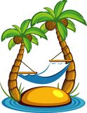 Island with palm trees and a hammock Stock Photo