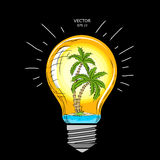 Island with palm trees inside a glass lamp. Vector light bulb with concept of idea. Illustration for print, web. Vector illustrati Royalty Free Stock Photo