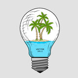 Island with palm trees inside a glass lamp. Vector light bulb with concept of idea. Illustration for print, web. Vector illustrati Stock Photo