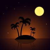 Island with Palm Trees and Moon on the Sky Royalty Free Stock Image