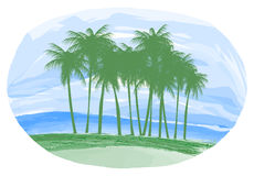 The island and palm trees at the ocean. Royalty Free Stock Photo