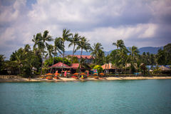 The island with palm trees in the ocean. Koh Samui Royalty Free Stock Photography