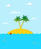 Island with palm trees on the sea Stock Image
