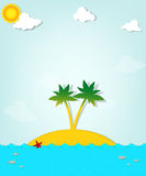 Island with palm trees on the sea Royalty Free Stock Images