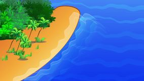 Island with palm trees and sea. Trip, traveling  cartoon animation illustration stock footage