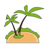 Island with palm trees. Vector illustration graphic design royalty free illustration