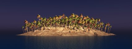 Island with palms. Computer generated 3D illustration with island and palms Royalty Free Stock Photos