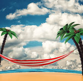 Island with palms and hammock. 3d render Royalty Free Stock Image
