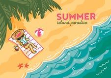 Island paradise banner illustration Stock Image