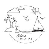 Island Paradise. Beach and water travel and tourism outline background. Minimalistic linear travel vacation landscape Stock Images
