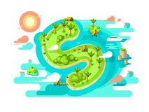 Island paradise nature offshore design. Beach in sea with finance tax free, fraud with income. Vector illustration Stock Photos