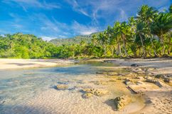 Island Paradise. And sandy beach in Philippines stock photos