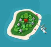 Island paradise view. From above. Top view island sprite Stock Images
