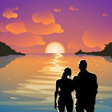 Island party couple 01. Illustration of beautiful sunset with sea and silhouette couple man and woman Royalty Free Stock Images