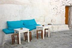 Island Patio. The little patio of a Greek island (Mykonos) coffee shop / bar Stock Photography