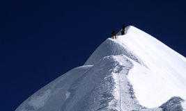 Island Peak. Mountain climbers, towards the summit of Island Peak. Nepal, Himalaya Royalty Free Stock Photography