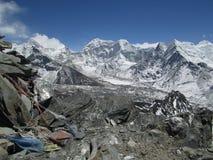Island Peak and frozen lake Imja Tsho, Stock Images