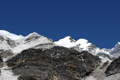 Island Peak High Camp - Nepal. The view from High Camp towards the summit of Island Peak Royalty Free Stock Photos