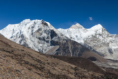 Island Peak or Imja Tse and Makalu view on the. Royalty Free Stock Images