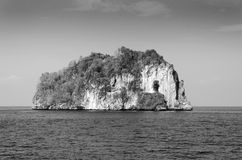 Island of Phang Nga National Park in Thailand, Black and White Royalty Free Stock Images