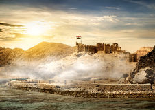 Island of pharaohs in Taba. At the sunrise Royalty Free Stock Images