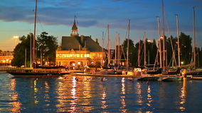 Island pier and yachts in the Old Town of Helsinki, Finland stock footage