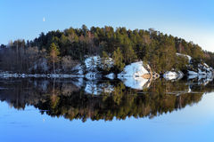 An island with pine trees reflected in the lake Stock Photography