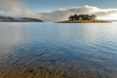 Island with pines in Batak Reservoir, Bulgaria Stock Images