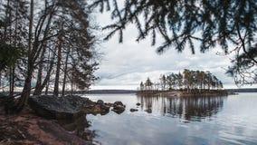 Island with pines. Near park Monrepos in Vyborg Stock Photo