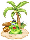 An island with a pirate monster royalty free illustration