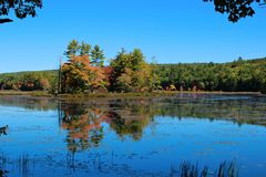 Island in the Pond. The beginning of Autumn in New England Stock Photos