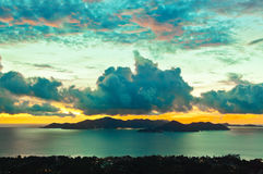 Island Praslin Seychelles at sunset Stock Photography