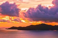 Island Praslin Seychelles at sunset Stock Images