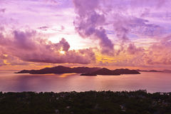 Island Praslin Seychelles at sunset Stock Image