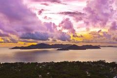 Island Praslin Seychelles at sunset Stock Photography
