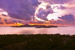 Island Praslin Seychelles at sunset Stock Photos