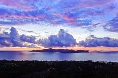 Island Praslin at sunset Stock Image