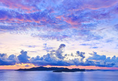 Island Praslin at sunset Royalty Free Stock Image