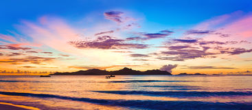 Island Praslin at sunset Stock Image