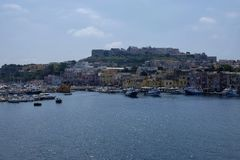 Island of procida seen from the sea stock photography