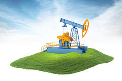 Island with pump jack floating in the air Royalty Free Stock Image